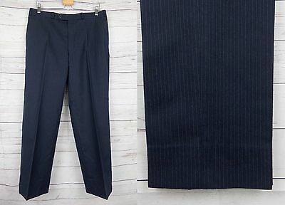 Vtg Blue Pinstripe Tapered Smart Wool Trousers W34 L29 DF68