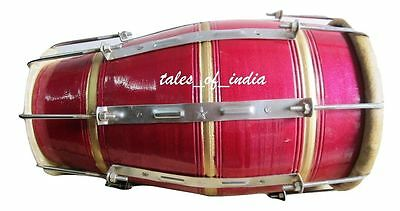 New Naal~Dholki~Sheesham Wood Drum~Dholak~Percussion~16 Keys Bhajan Kirtan