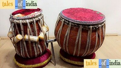 Tabla set~Drum Set~Mud Bayan~Neem Dayan~Hammer~Cover~Dhakkan~Cushion~Full Set