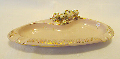 Lefton China Hand Painted Mid Century Pink Individual Ashtray w White Flowers