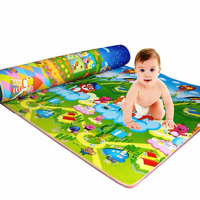 120X180Cm Kids Crawling 2 Side Play Mat Educational Game Soft Foam Picnic Carpet