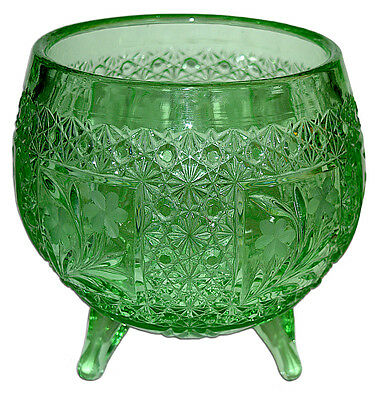 McKee Innovation Line Green Cut Glass Snappy Large Footed Rose Bowl