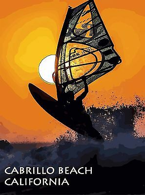Cabrillo Beach California Windsurfing United States Travel Advertisement Poster