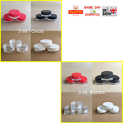 5 10 15 20 25 > 100 CIRCLE & SQUARE 3ml SCREW TOP JAR POT CONTAINER SAMPLE CREAM