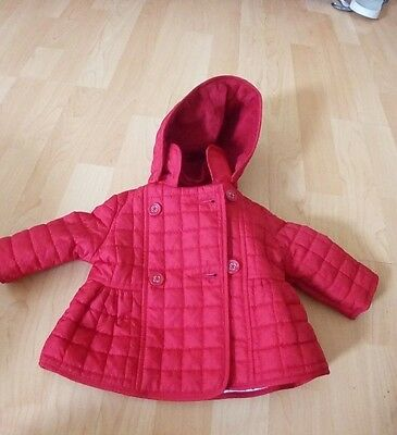 baby girl red hooded bow quilted coat by Jasper Conran,0-3 month