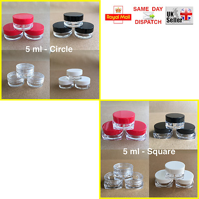 50 100 150 200 250 > CIRCLE & SQUARE 5ml SCREW TOP JAR POT CONTAINER CRAFT NAILS