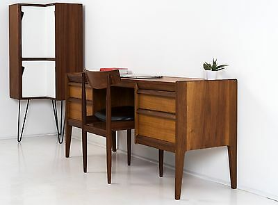 Small Mid Century Modern Desk / Dressing Table  * Vintage Danish Teak Walnut *