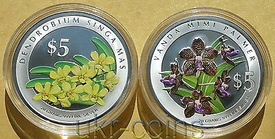 2007 Singapore Heritage Orchids 2-coin Silver 999 proof set $5 Flower Flora WWF