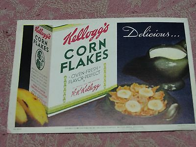 Antique Unused Fountain Pen Ink Blotter Advertising Kellogg's Corn Flakes Cereal