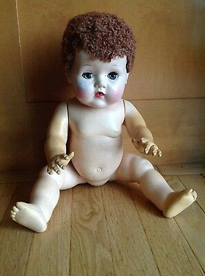"Vintage American Character Tiny Tears Doll W/ Caracul Wig/ Rubber Body 20"" Tlc"
