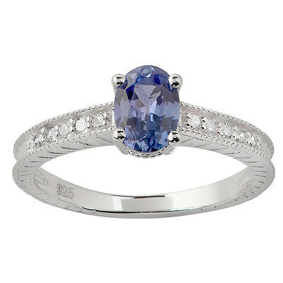Vintage Style 1.25ct Genuine Tanzanite and Diamond Ring in Sterling Silver