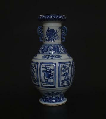 Antique Chinese Porcelain Blue And White Vase Qianlong Mark Double Ears s333