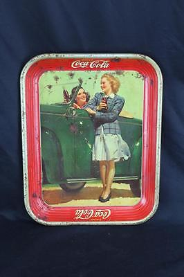 "Original Vintage 1940's Tin Coca-Cola Serving Tray w/2 Girls at Car 10.5"" x 13"""
