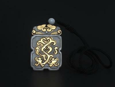 Good Antique Chinese Carved Natural Jade Gilding Pendant s142