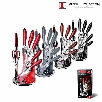 Imperial Collection 8 PC Stainless Steel Kitchen Cutlery Knife Set Acrylic Stand