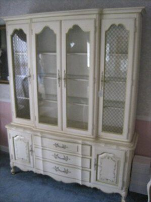 French Louis XV Provincial Antique White Dining Room Breakfront Cabinet