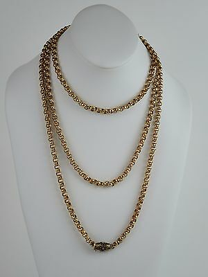 "Rare Antique Victorian c1850 9K yellow gold chain, 156cm or 61.5"" length, 121.8g"