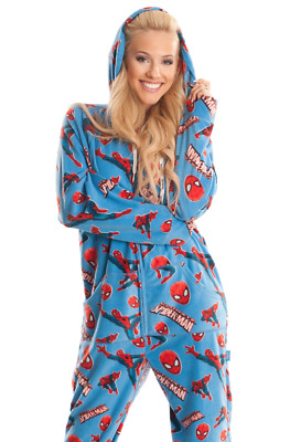 Unisex Spider Man Blue Fleece Footed Pajama - Adult Sized Footie Hooded PJ