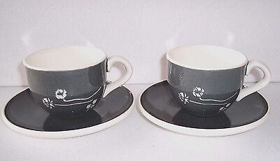 2 Vintage Russel Wright Harkerware Dark Gray w/ White Clover Cups & Saucers
