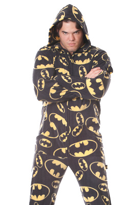 Unisex Batman Black Fleece Footed Pajamas - Adult DC Comics Footie Hooded PJ