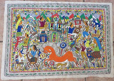 "Vintage Colorful Mexican Amate Bark Painting/Signed, C1975/17"" x 24"""