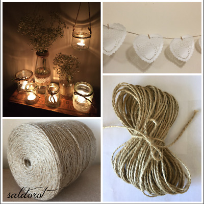 2-50m  2 /4 /6 mm  ❁ Soft Natural Jute Twine String Cord ❁Hessian Burlap Rustic