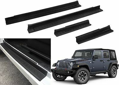4PCS Door Sill Scuff Plate Insert Black For 2007 - 2017 Jeep Wrangler