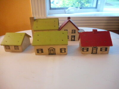 1950's Block Wood Hand painted Houses for Ho Train layout