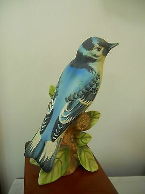 Vintage Porcelain Blue Jay Bird Figurine, Purched On A Tree
