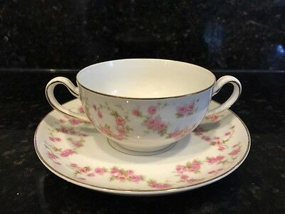H & C Heinrich Bavaria Selb CUP & SAUCER WHITE WITH PINK FLOWERS Roses BEAUTIFUL