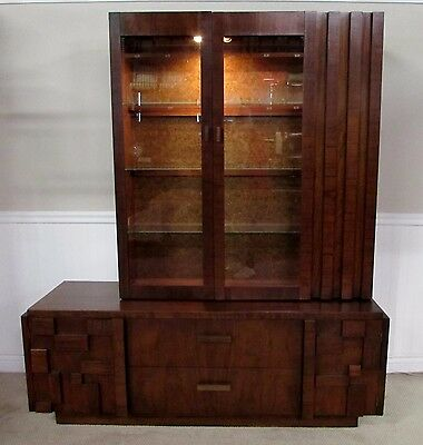 Vintage Mid Century Lane Walnut China Cabinet Closet Breakfront Curio Paul Evans