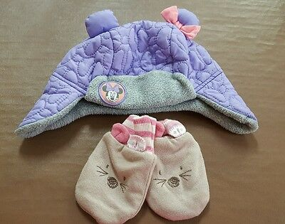 Girls Cute Minnie Mouse Winter Hat & Mittens 6-12 months from George & M&S