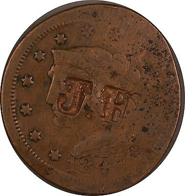 1847 Counter Stamped US Large Cent - J.F. - NO RESERVE!!!
