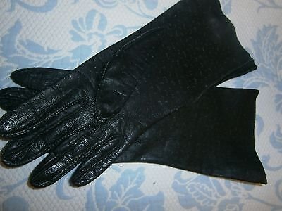 "Vintage Soft Black Kidskin Leather Gloves sz 7 1/2  10"" long"