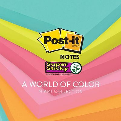 "3M Post-it Notes 3x3"" 5 Pads/Pack Bright Colors 100 Sheets Per Pad Super Sticky"