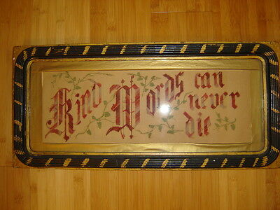 "Victorian punch paper motto ""Kind Words can never die""  18 x 6.5 framed glass"