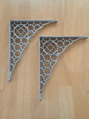 Vintage Pair Of Two Matching Cast Iron Old Gothic Shelf Brackets