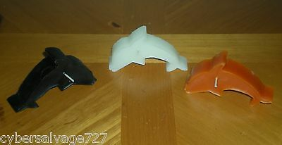 Set of 3 Halloween Colored Tea Light Candles Black Orange White Dolphins