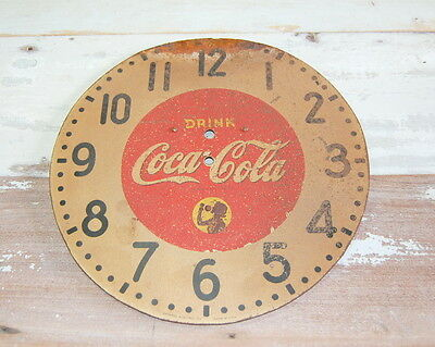 Original Antique Metal Coca Cola Clock Face General Electric Co Coke Advertising