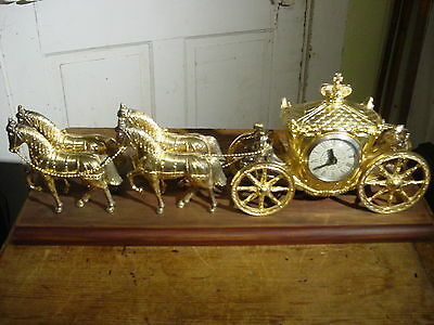 Vintage United Four Horse Carriage Clock Completely Restored Replated & Serviced