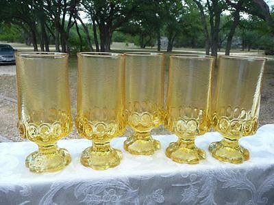 5 Vintage Tiffin FRANCISCAN MADEIRA Cornsilk Ice Tea Stem 6 1/2""