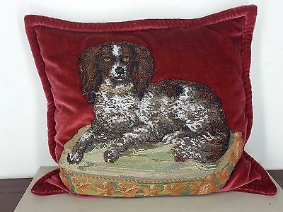 Outstanding ANTIQUE VICTORIAN Beadwork Needlework Cavalier King Charles Spaniel