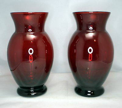 Beautiful Pair Of Vintage Ruby Glass Vases Approx 6.75 Inches Each