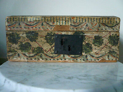 Very Old Antique Hand Painted Wallpaper Document Chest Box From My Burr Family