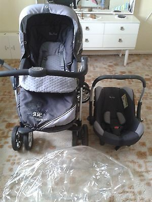 Silver Cross Cargo 3 In 1 Travel System Pram Pushchair Car Seat With Raincover
