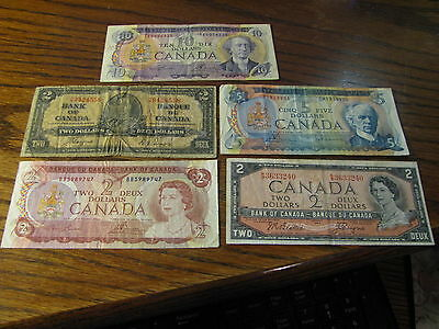 Lot of 5 Canada Banknotes $2 - $10 1937 1954 1971 1972 1974     # H 98
