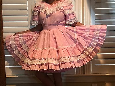"""Beautiful Pink Check Square Dance Outfit- Medium 21"""" Skirt"""