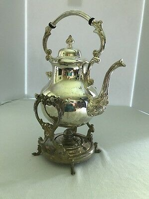 Vintage Sheridan Silver on Copper Tea Pot /w/ Stand and Warmer