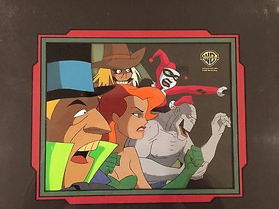 """Batman Animated Series 5 Cels from """"The Trial"""" Harley/Killer Croc/Scarecrow/Ivy"""