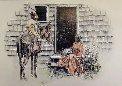 "Heritage Sketches ""A Social Call"" GREETING CARD J Campbell Phillips FRAMABLE"
